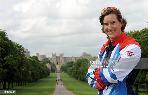 Katherine Grainger MBE poses for the camera with Windsor Castle during the Announcement Of The Rowing Athletes Named in Team GB for the London 2012...