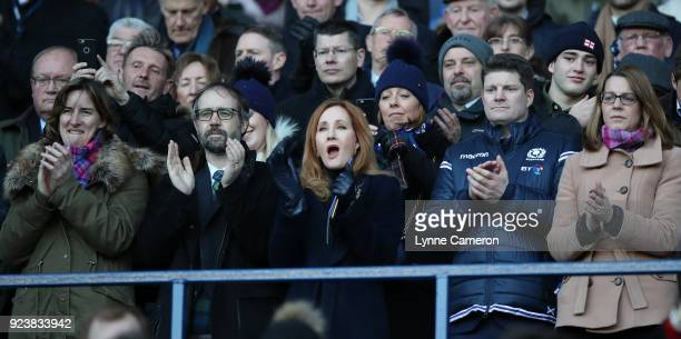 Katherine Grainger Neil Murray Joanne Rowling and Dominic McKay during the NatWest Six Nations Championship between Scotland and England at...