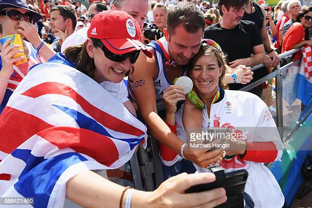 Katherine Grainger of Great Britain celebrates with supporters after winning silver with Victoria Thornley in the Women's Double Sculls Final A on...