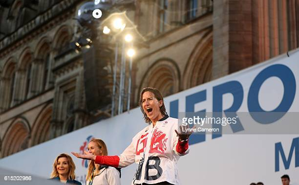 Katherine Grainger of Great Britain on stage during a Rio 2016 Victory Parade for the British Olympic and Paralympic teams on October 17 2016 in...