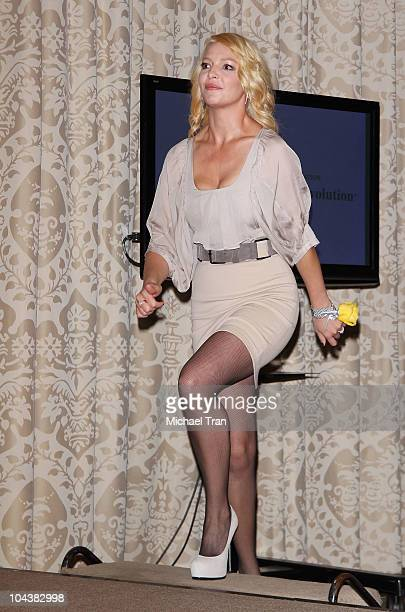 Katherine Heigl attends the Pet Population Crisis press conference held at the Four Seasons Hotel Los Angeles on September 23 2010 in Los Angeles...
