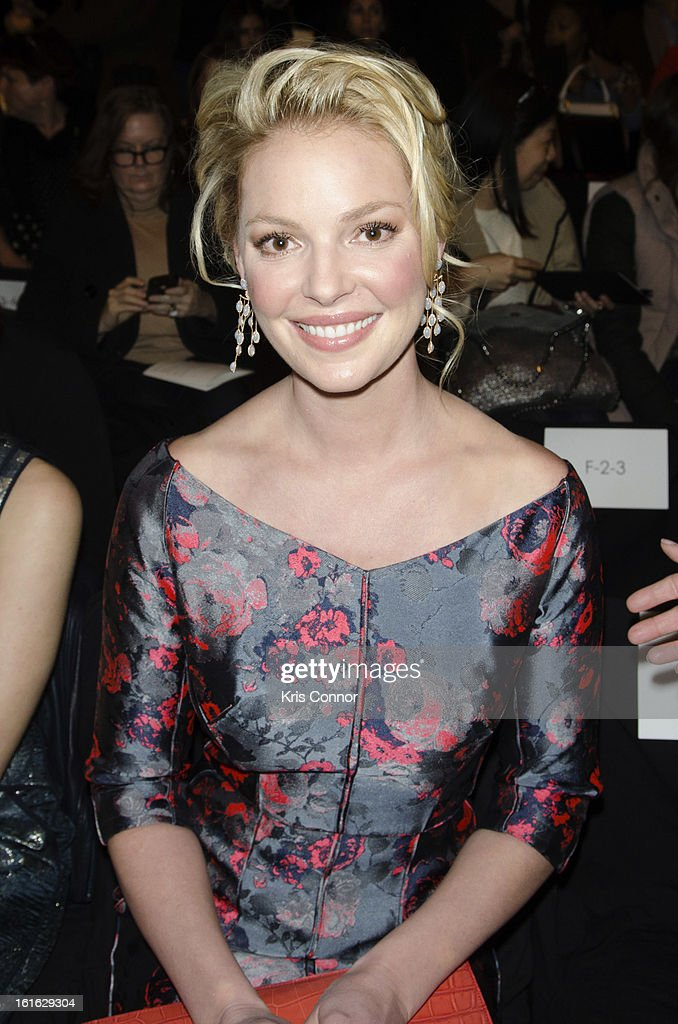 Katherine Heigl poses during the J. Mendel Fall 2013 Mercedes-Benz Fashion Show at The Theater at Lincoln Center on February 13, 2013 in New York City.