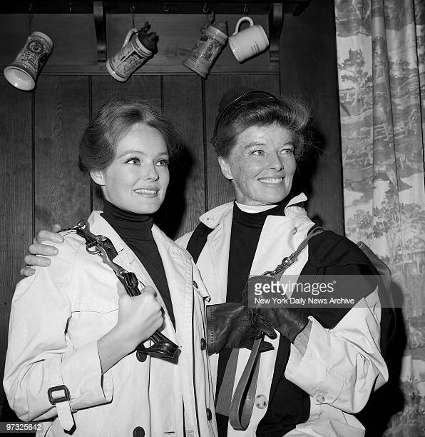 Katherine Hepburn holds a press conference at the 21 Club to introduce her niece Katherine Houghton who is costarring with her in the new film Guess...