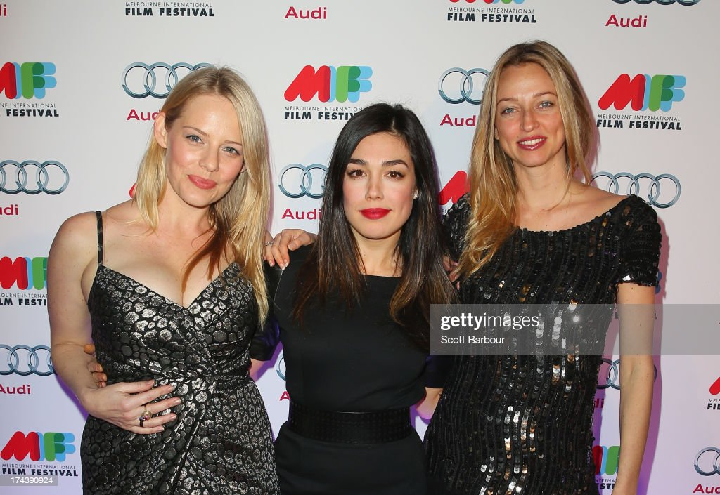 Katherine Hicks, Melanie Vallejo and Zoe Tuckwell-Smith from Winners & Losers arrive at the Australian premiere of 'I'm So Excited' on opening night of the Melbourn International Film Festival at Hamer Hall on July 25, 2013 in Melbourne, Australia.