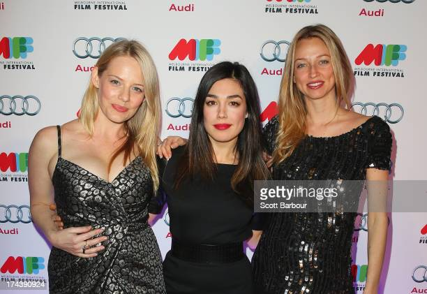 Katherine Hicks Melanie Vallejo and Zoe TuckwellSmith from Winners Losers arrive at the Australian premiere of I'm So Excited on opening night of the...