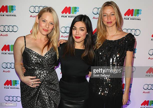 Katherine Hicks Melanie Vallejo and Zoe TuckwellSmith from Winners Losers arrive at the Australian premiere of 'I'm So Excited' on opening night of...
