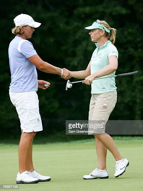 Katherine Hull of Australia congratulates Annika Sorenstam of Sweden following the first round of the HSBC Women's World Match Play at Wykagyl...