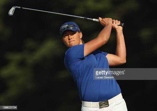 Katherine Hull of Australia hits a tee shot during day two of the 2012 Women's Australian Open at Royal Melbourne Golf Course on February 10 2012 in...