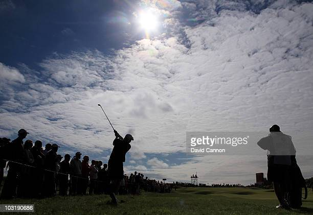 Katherine Hull of Australia hits her 2nd shot on the 16th hole during the final round of the 2010 Ricoh Women's British Open at Royal Birkdale on...