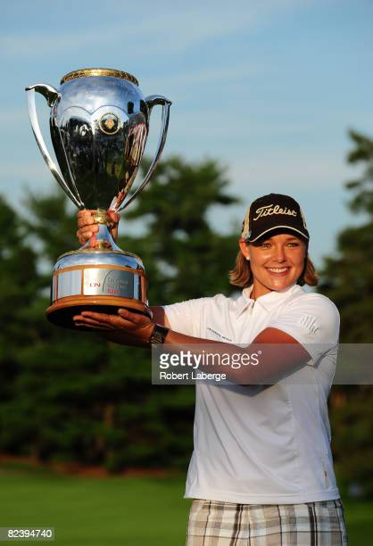 Katherine Hull of Australia lifts the winner's trophy after winning the CN Canadian Women's Open at the Ottawa Hunt and Golf Club on August 17, 2008...