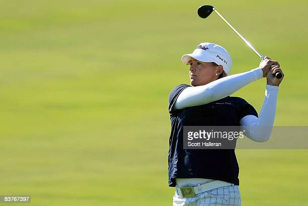 Katherine Hull of Australia watches her approach shot on the 18th hole during the first round of the ADT Championship at the Trump International Golf...