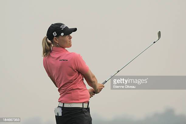 Katherine HullKirk of Australia hits a shot during the third round of the Reignwood LPGA Classic at Pine Valley Golf Club on October 5 2013 in...