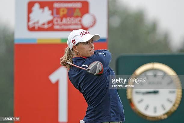 Katherine HullKirk of Australia tees off during the second round of the Reignwood LPGA Classic at Pine Valley Golf Club on October 4 2013 in Beijing...