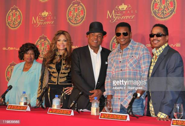 Katherine Jackson and musicians La Toya Jackson Tito Jackson Jackie Jackson and Marlon Jackson attend a live press conference announcing Global Live...