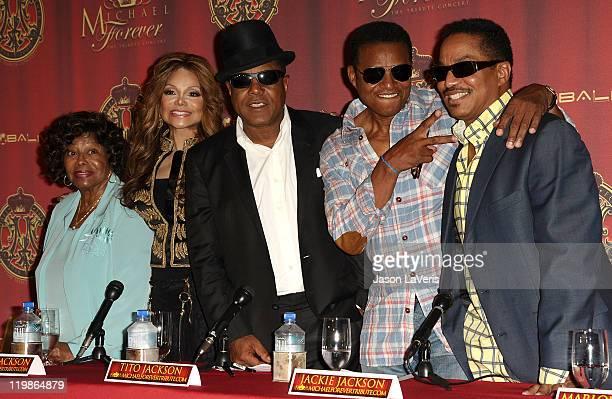 Katherine Jackson, La Toya Jackson, Tito Jackson, Jackie Jackson and Marlon Jackson attend the Jackson Family press conference at Beverly Hills Hotel...