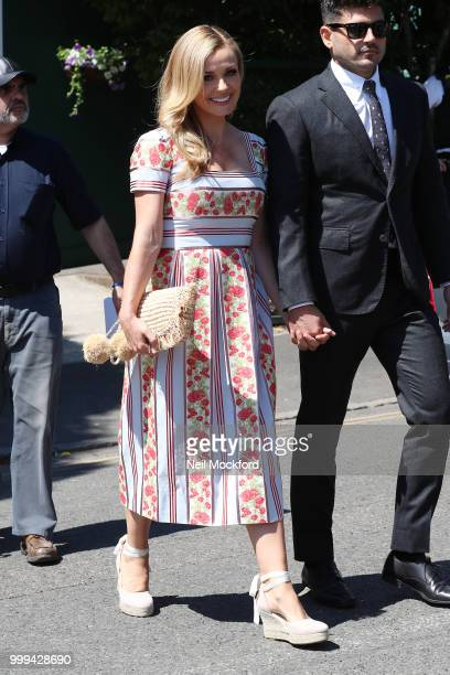 Katherine Jenkins and Andrew Levitas arrive at Wimbledon Tennis for Men's Final Day on July 15 2018 in London England