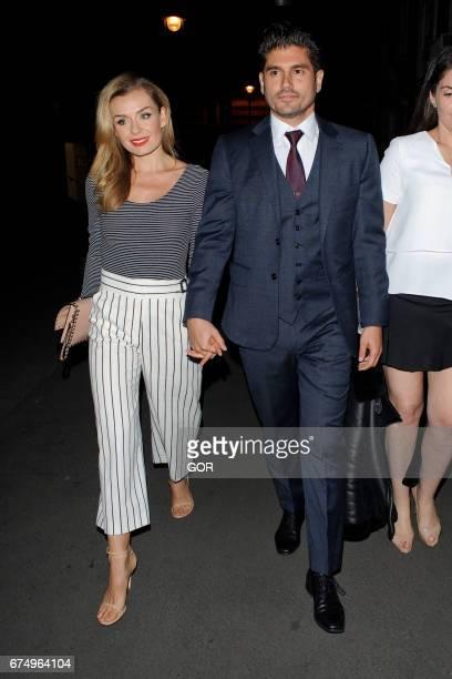 Katherine Jenkins and Andrew Levitas arriving at J Sheekeys restaurant on April 29 2017 in London England