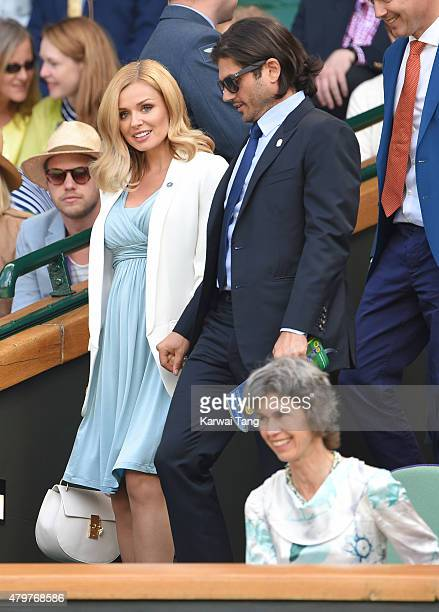 Katherine Jenkins and Andrew Levitas attend day eight of the Wimbledon Tennis Championships at Wimbledon on July 7 2015 in London England
