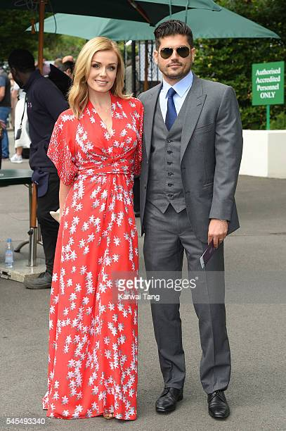 Katherine Jenkins and Andrew Levitas attend day eleven of the Wimbledon Tennis Championships at Wimbledon on July 08 2016 in London England