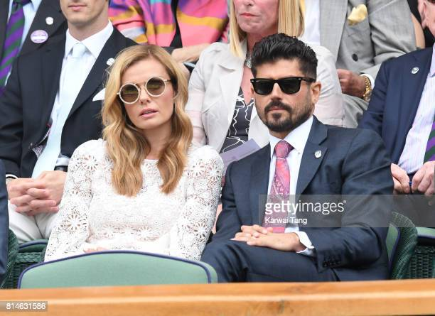 Katherine Jenkins and Andrew Levitas attend day eleven of the Wimbledon Tennis Championships at the All England Lawn Tennis and Croquet Club on July...