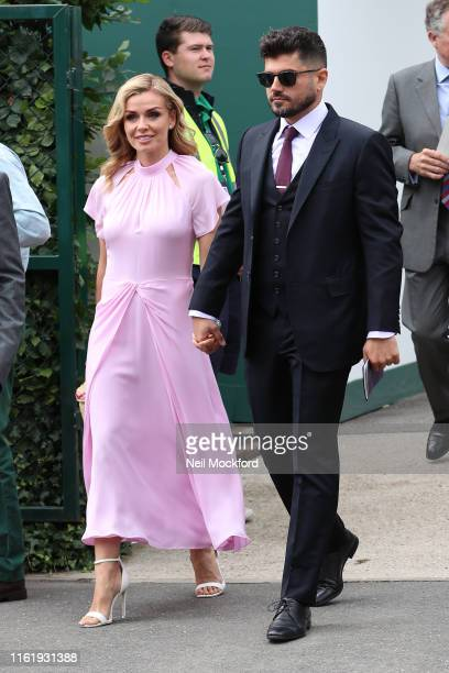 Katherine Jenkins and Andrew Levitas attend Men's Final Day at the Wimbledon 2019 Tennis Championships at All England Lawn Tennis and Croquet Club on...