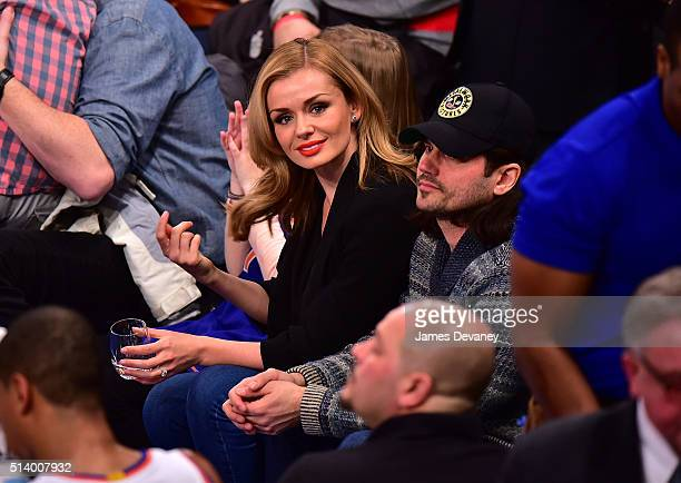 Katherine Jenkins and Andrew Levitas attend the Detroit Pistons vs New York Knicks game at Madison Square Garden on March 5 2016 in New York City