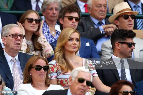 Katherine Jenkins and Andrew Levitas attend the Men's Singles final on day thirteen of the Wimbledon Lawn Tennis Championships at All England Lawn...