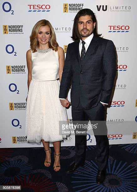 Katherine Jenkins and Andrew Levitas attend the Nordoff Robbins Six Nations Championship Rugby Dinner at The Grosvenor House Hotel on January 20 2016...