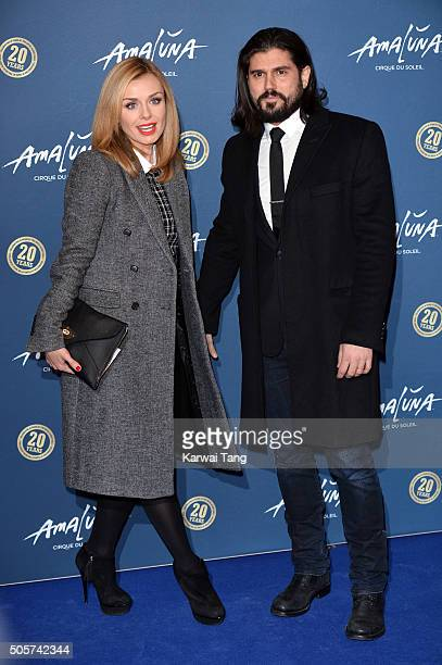 Katherine Jenkins and Andrew Levitas attend the Red Carpet arrivals for Cirque Du Soleil Amaluna at Royal Albert Hall on January 19 2016 in London...