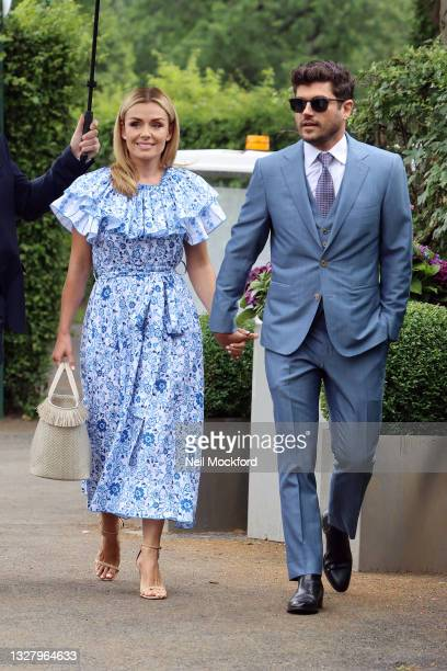 Katherine Jenkins and Andrew Levitas attend Wimbledon Championships Tennis Tournament Ladies Final Day at All England Lawn Tennis and Croquet Club on...