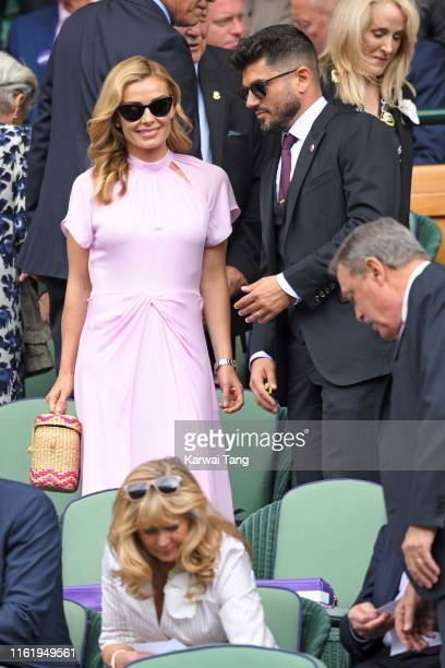 Katherine Jenkins and Andrew Levitas in the Royal box during Men's Finals Day of the Wimbledon Tennis Championships at All England Lawn Tennis and...