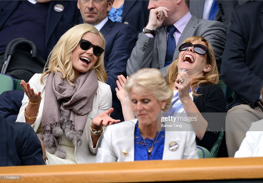 Katherine Jenkins and Darcy Bussell attend on Day 8 of the Wimbledon Lawn Tennis Championships at the All England Lawn Tennis and Croquet Club at Wimbledon on July 2, 2013 in London, England.