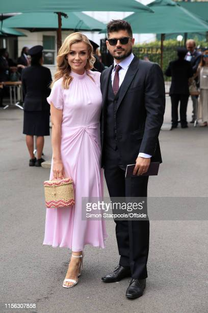 Katherine Jenkins and her husband Andrew Levitas arrive on Day 13 of The Championships Wimbledon 2019 at the All England Lawn Tennis and Croquet Club...