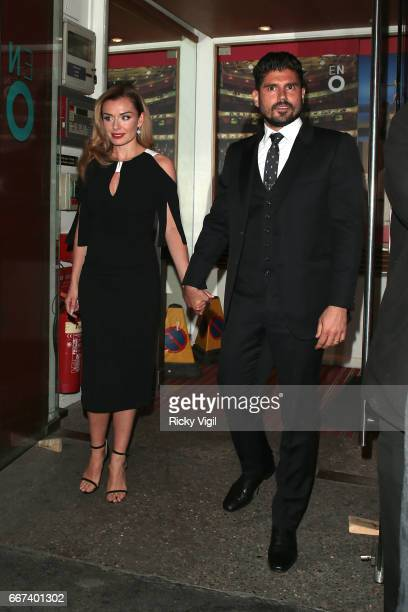 Katherine Jenkins and husband Andrew Levitas leaving Coliseum Theatre after the press night for the musical ÔCarouselÕ on April 11 2017 in London...