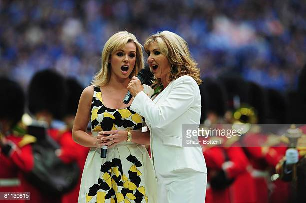 Katherine Jenkins and Lesley Garrett perform 'Abide With Me' prior to the FA Cup Final sponsored by EON between Portsmouth v Cardiff City at Wembley...