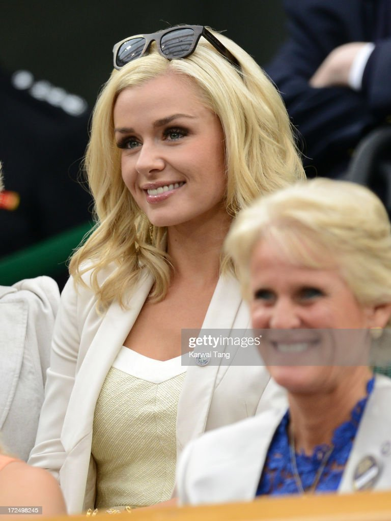 Katherine Jenkins attends on Day 8 of the Wimbledon Lawn Tennis Championships at the All England Lawn Tennis and Croquet Club at Wimbledon on July 2, 2013 in London, England.