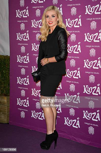 Katherine Jenkins attends the opening night of Cirque Du Soleil's Kooza at the Royal Albert Hall on January 8 2013 in London England