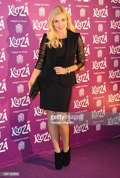 Katherine Jenkins attends the opening night of Cirque Du Soleil's Kooza at Royal Albert Hall on January 8 2013 in London England