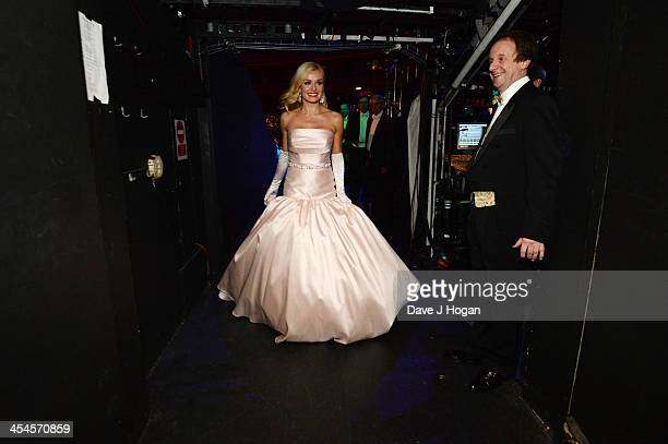 Katherine Jenkins leaves the stage at the interval of her performance at The Royal Albert Hall on December 9 2013 in London England