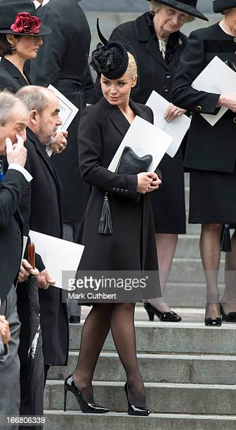 Katherine Jenkins leaving StPaul's Cathedral on April 17 2013 in London England Dignitaries from around the world today join Queen Elizabeth II and...