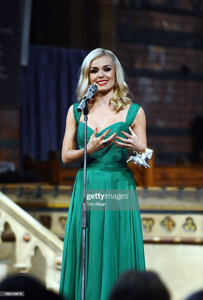 Katherine Jenkins performs a fundraiser at St David's Church, Neath, in aid of the St David's Church Tower Restoration Appeal on May 7, 2013 in Neath, Wales.