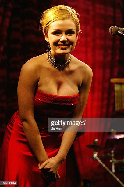 Katherine Jenkins performs at the Classical Brit Awards nominations announcement at the Landmark Hotel on April 21 2004 in London The Awards...
