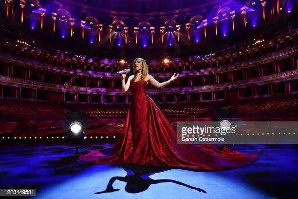 Katherine Jenkins performs during a behind-closed-doors concert commemorating VE Day at Royal Albert Hall on May 07, 2020 in London, England. Friday...