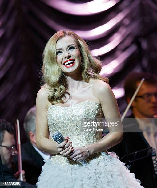 Katherine Jenkins performs on stage at Symphony Hall on March 7 2015 in Birmingham United Kingdom