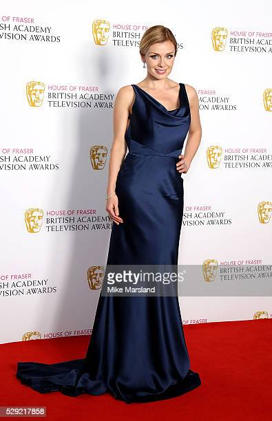 Katherine Jenkins poses in the winners room at the House Of Fraser British Academy Television Awards 2016 at the Royal Festival Hall on May 8 2016 in...
