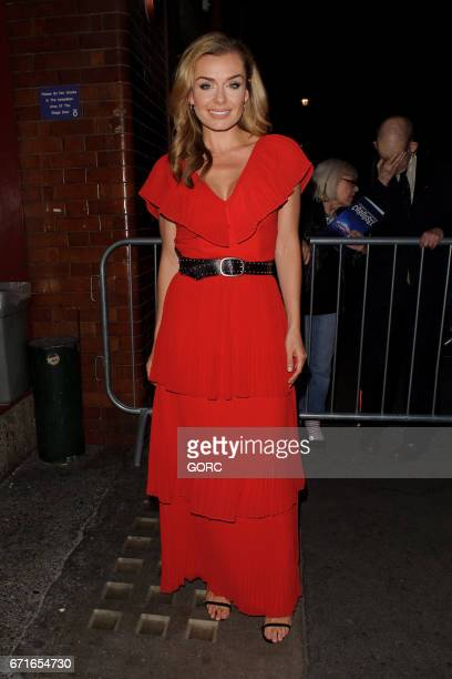 Katherine Jenkins sighting outside the stage door of the Coliseum theatre on April 22 2017 in London England