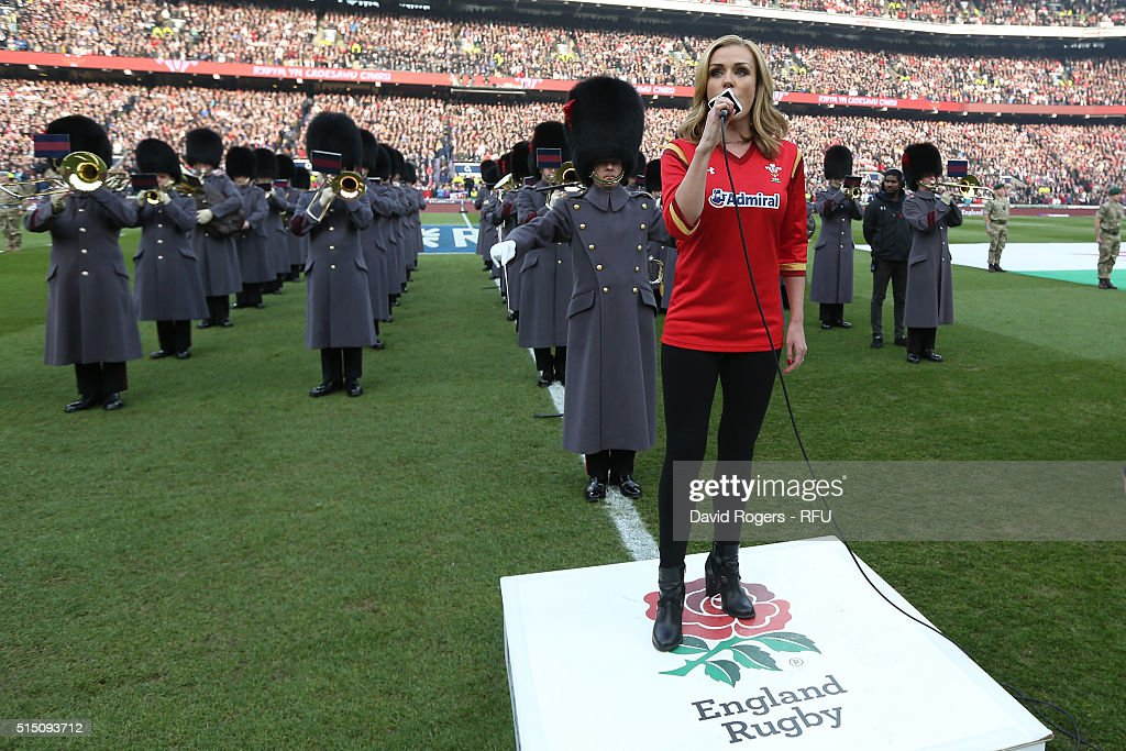 Katherine Jenkins sings the Welsh national anthem during the RBS Six