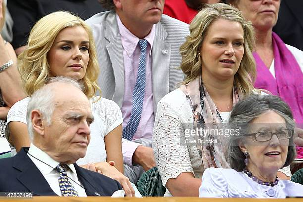 Katherine Jenkins sits in the Royal Box in Centre Court on day eight of the Wimbledon Lawn Tennis Championships at the All England Lawn Tennis and...