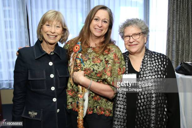 Katherine Kahan Abigail Disney and Kathryn Weill attend the reception for the 32nd Anniversary Celebrating Women Breakfast at Marriott Marquis on May...