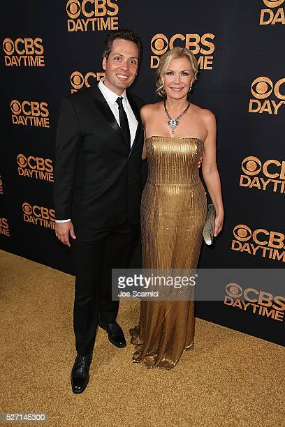 Katherine Kelly Lang and guest arrive at the CBS Daytime Emmy After Party at Alexandria Ballrooms on May 1 2016 in Los Angeles California